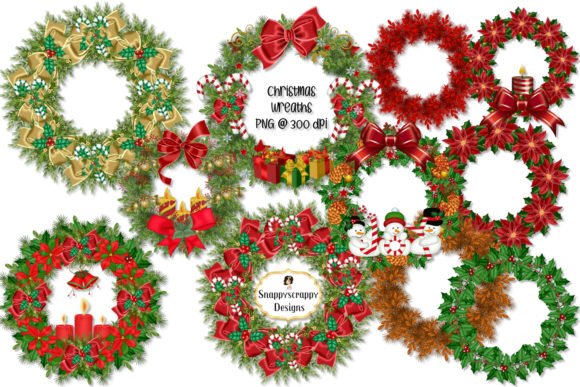 Christmas Wreaths Graphic Illustrations By Snappyscrappy
