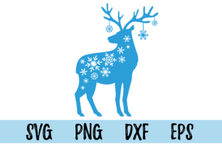 Print on Demand: Deer with Snowflakes Graphic Objects By CuteShopClipArt
