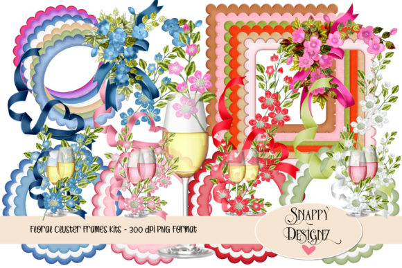 Floral Cluster Frames Graphic Objects By Snappyscrappy