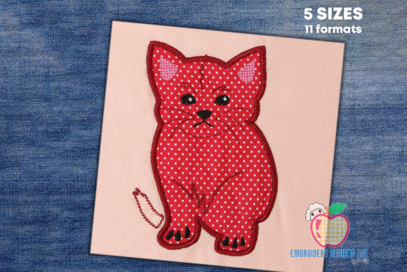 Flufffy Kitten Sitting Applique Embroidery