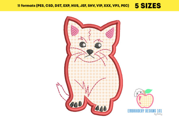 Flufffy Kitten Sitting Applique Embroidery Download