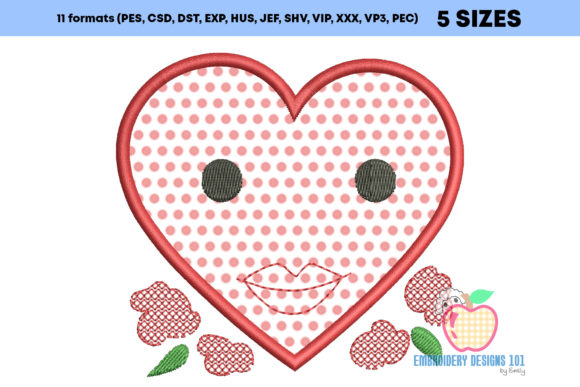 Heart with Flower Applique Design Embroidery Download