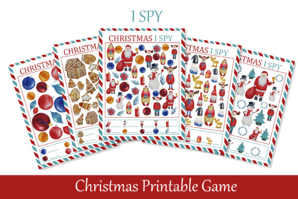 Print on Demand: I Spy Christmas Printable Game for Kids Graphic Teaching Materials By s.yanyeva