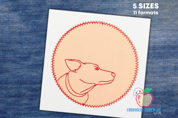 Jack Russell Dog Made in a Circle Embroidery