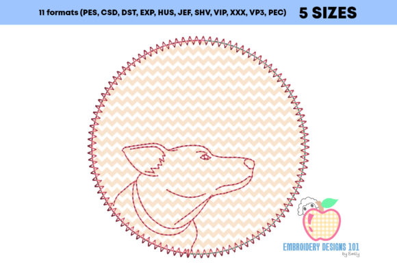 Jack Russell Dog Made in a Circle Embroidery Download