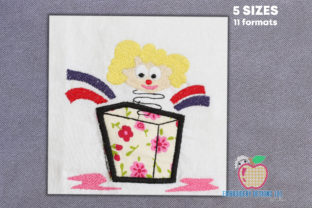 Joker in the Box Toy Applique Circus & Clowns Embroidery Design By embroiderydesigns101