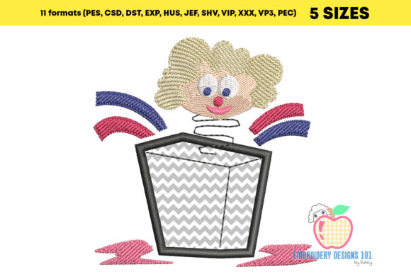 Joker in the Box Toy Applique Embroidery Download