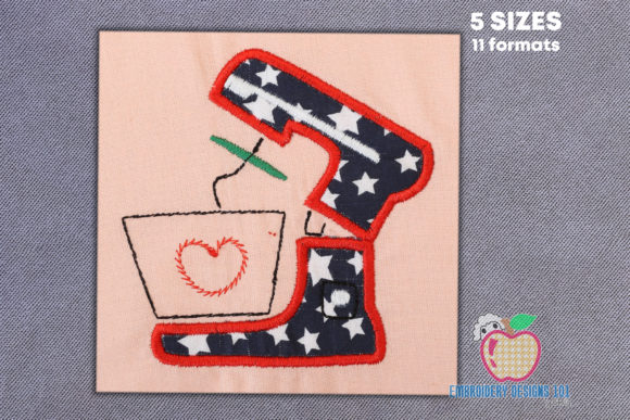 Kitchen Mixer Applique Design Kitchen & Cooking Embroidery Design By embroiderydesigns101