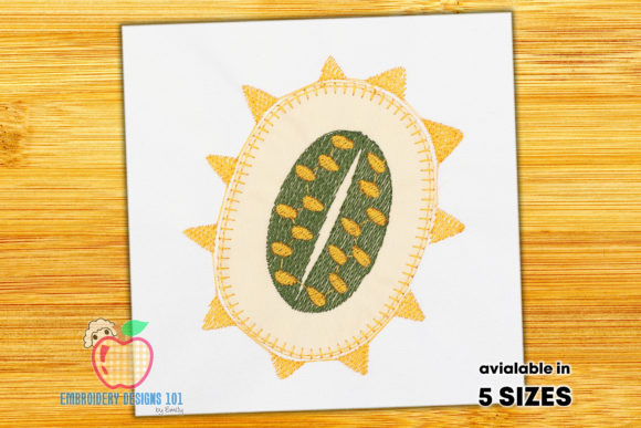 Kiwano Fruit with Seeds Embroidery