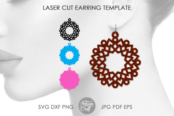Print on Demand: Laser Cut Wood Earrings Graphic 3D SVG By Artisan Craft SVG