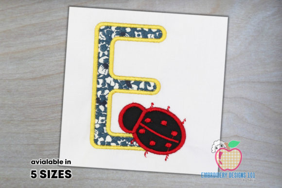 Letter E with a Ladybug Embroidery
