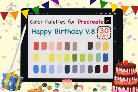Procreate Color Palettes-Birthday V.8 Graphic Add-ons By jennythip