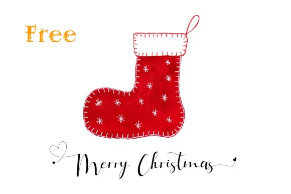 Print on Demand: Red Felt Christmas Stocking Graphic Crafts By Anines Atelier