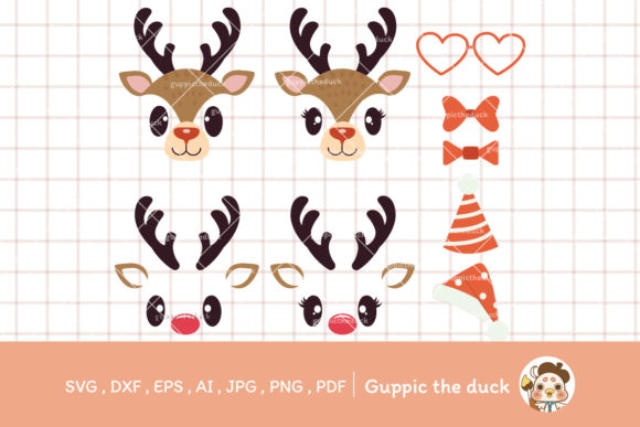 Reindder Face and Elements Svg Clipart Graphic Illustrations By Guppic the duck