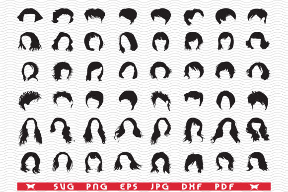 Hairstyles, Black Templates, Digital Graphic Icons By DesignStudioRM