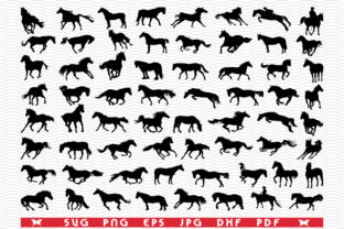 Horses, Black Silhouettes, Digital Graphic Icons By DesignStudioRM