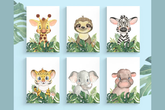 Safari Animal Set. Wall Decor. Jungle Graphic Illustrations By EvArtPrint