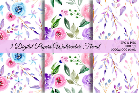 Print on Demand: Seamless Pattern Floral Watercolor 24 Graphic Patterns By asrulaqroni