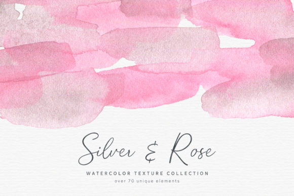 Silver & Rose Watercolor Textures Graphic Textures By MoonLake
