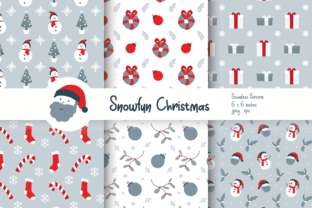 Print on Demand: Snow Fun Christmas Seamless Patterns Graphic Patterns By Helotype