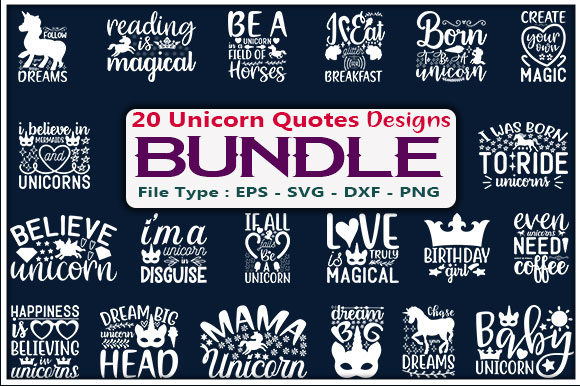 Unicorn Quotes Design Bundle Graphic Print Templates By creative_store