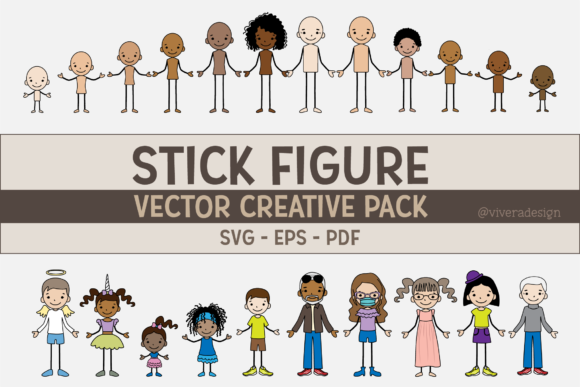 Print on Demand: Vector Family Stick Figures SVG EPS PDF Graphic Illustrations By vivera