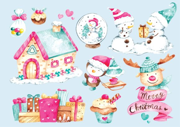 Winter and Christmas Doodle  Watercolor Graphic Illustrations By Big Barn Doodles