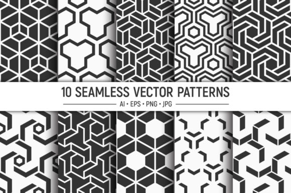 10 Seamless Geometric Vector Patterns Graphic Patterns By AVK graphics