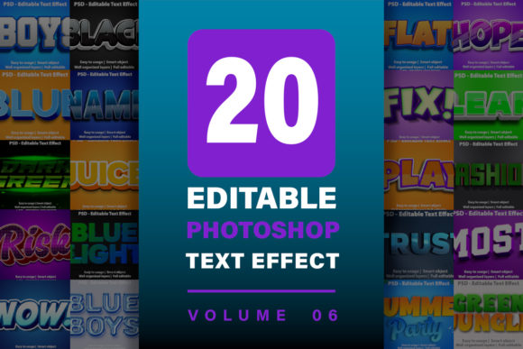 20 Photoshop Text Effect Bundle - Vol 6  von yosiduck