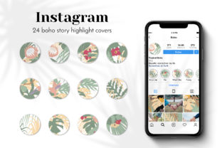 Print on Demand: 24 Boho Instagram Story Highlights Graphic Web Elements By neauth