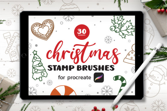 30 Christmas Procreate Stamp Brushes Graphic Brushes By Guppic the duck
