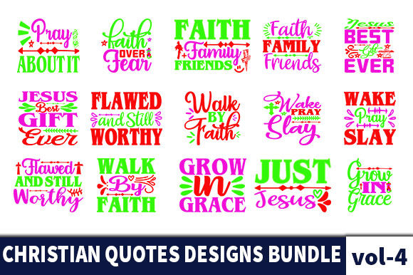 Print on Demand: 30 Christian Quotes Designs Bundle Graphic Print Templates By Star_Graphics