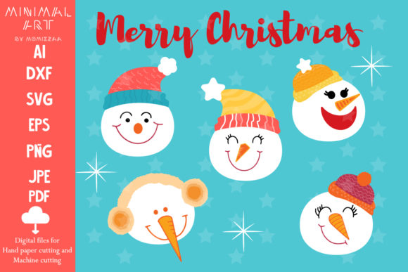 Print on Demand: 5 Christmas Snowman Designs Graphic Crafts By Momixzaa