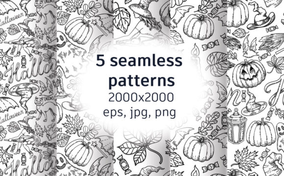 5 Halloween Seamless Patterns Graphic Patterns By artbyekaterina