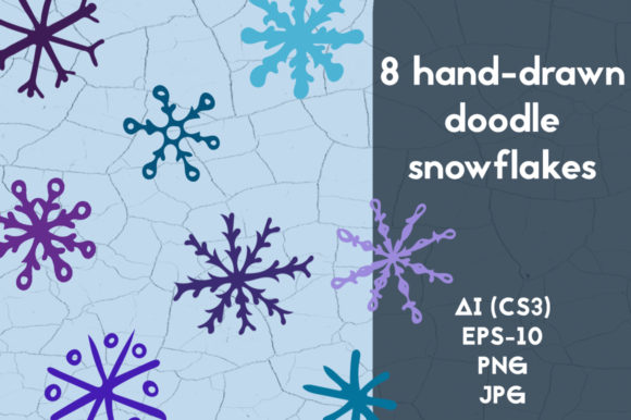 8 Hand Drawn Doodle Snowflakes Graphic Objects By rina.dozornaya