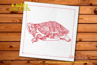 Beautiful Giant Tortoise Redwork Reptiles Embroidery Design By Redwork101