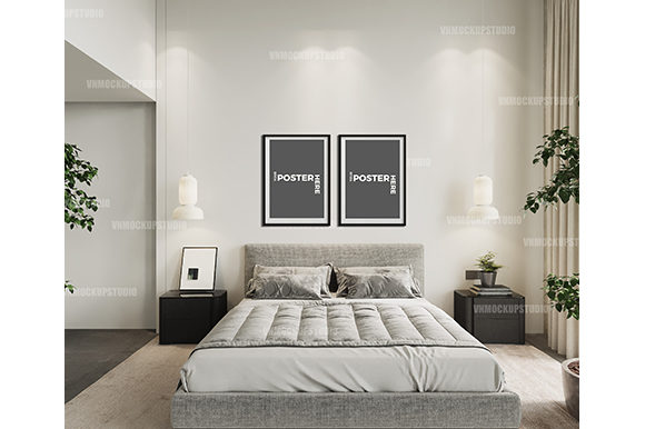 Bedroom Mockup, White Bedroom Wall Graphic Product Mockups By VNMockupStudio