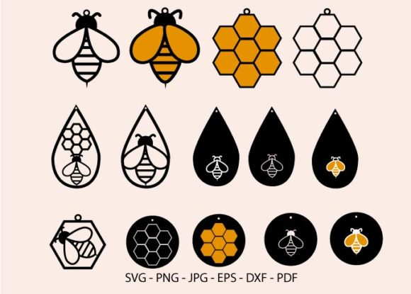 Bee Earring Svg, Honeycomb Earring Graphic Crafts By RedCreations