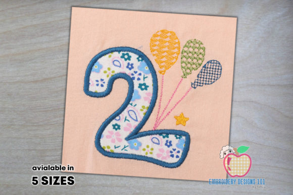 Birthday Number 2 with Colorful Balloons Birthdays Embroidery Design By embroiderydesigns101