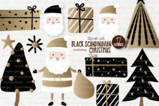 Print on Demand: Black Scandinavian Christmas Clipart Set Graphic Illustrations By MutchiDesign