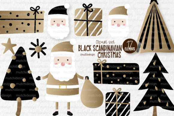 Print on Demand: Black Scandinavian Christmas Clipart Set Graphic Illustrations By loyaarts