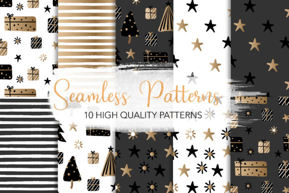 Print on Demand: Black Scandinavian Christmas Patterns Graphic Patterns By loyaarts