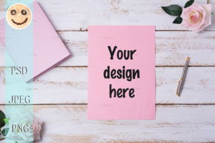 Print on Demand: Blank Paper Sheet Mockup with Roses. Graphic Product Mockups By TasiPas