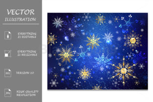 Blue Background with Golden Snowflakes Graphic Illustrations By Blackmoon9