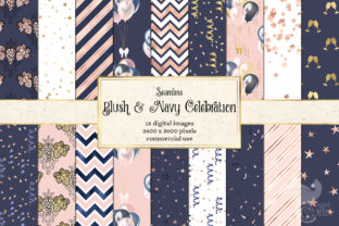Print on Demand: Blush and Navy Celebration Digital Paper Graphic Backgrounds By Digital Curio