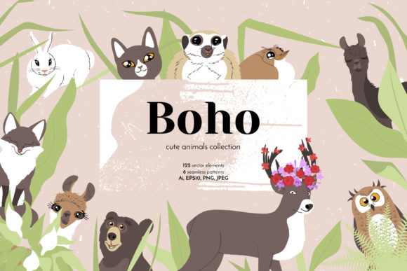 Boho Cute Animals - Line Art Graphic Objects By neauth