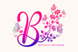 Print on Demand: Botanical Monogram Decorativa Fuente Por utopiabrand19