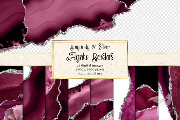 Print on Demand: Burgundy and Silver Agate Borders Graphic Textures By Digital Curio