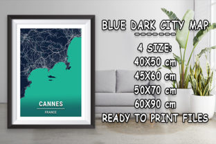 Print on Demand: Cannes - France Blue Dark City Map Graphic Photos By tienstencil