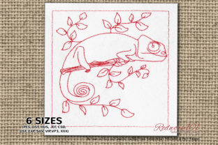 Chameleon Calyptratus on Branch Redwork Reptiles Embroidery Design By Redwork101